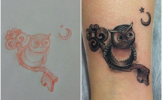 Owl Tattoo by Mauricio Huber (Old Friends Tattoo)
